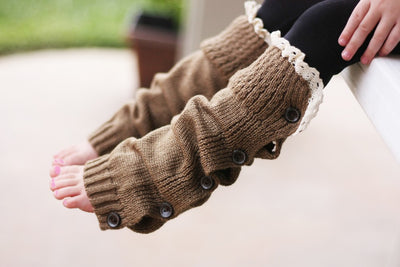 Faith Baby | Nutmeg Button Leg Warmers