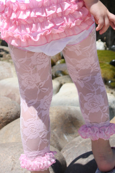 Faith Baby | Pink Lace Leggings Capri Style