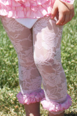 Faith Baby | Capri Style Pink Lace Leggings