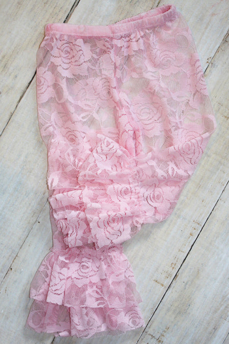 Faith Baby | Vintage Pink Lace Leggings