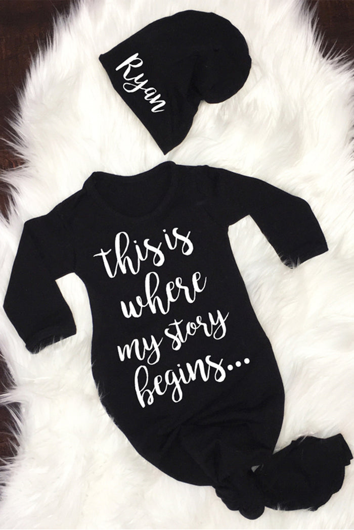Faith Baby Infant Apparel | This Is Where My Story Begins Newborn Baby Boy Gown