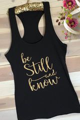 Be Still Womans Christian Racerback Tank - FaithBaby.com