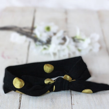 Gold Dot Infant Toddler Tie Knot Headband |  FaithBaby.com