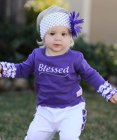 Faith Baby | Blessed Infant Toddler Long Sleeve Frilly Ruffled Top White and Grape