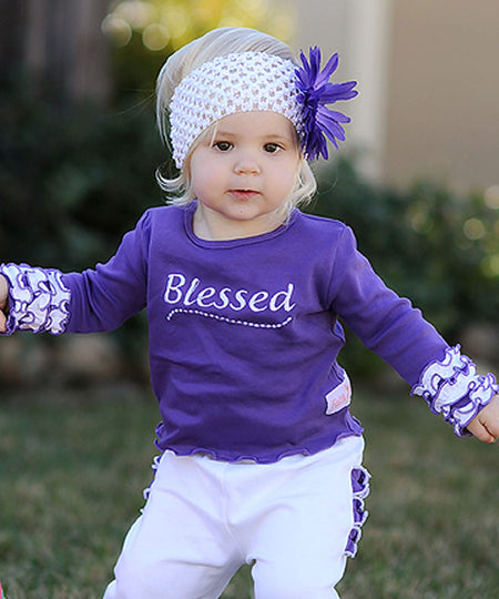 Faith Baby | Blessed Infant Toddler Long Sleeve Frilly Ruffled Top Grape White