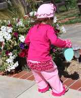 Faith Baby | Blessed Infant Toddler Ruffled Wrist Frilly Long Sleeve Top Fuchsia Pink