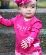 Faith Baby | Blessed Infant Toddler Ruffled Wrist Frilly Long Sleeve Top Pink Fuchsia