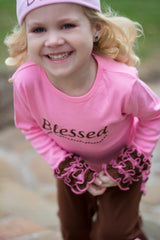 Faith Baby | Blessed Infant Toddler Long Sleeve Frilly Ruffled Top Pink Chocolate