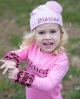 Faith Baby | Blessed Infant Toddler Long Sleeve Frilly Ruffled Top Pink and Chocolate