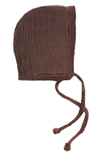 Brown Corduroy Baby Boy Bonnet  - FaithBaby.com