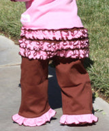 Faith Baby | Ruffled Butt Pink Brown Capri Crawlers Knit Pants Infant to toddler