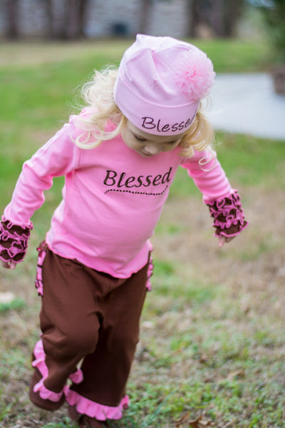 Faith Baby | Blessed Infant Toddler Long Sleeve Frilly Ruffled Top Chocolate Pink