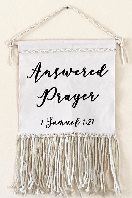 Answered Prayer Canvas Macrame Wall Sign Decor | Faith Baby