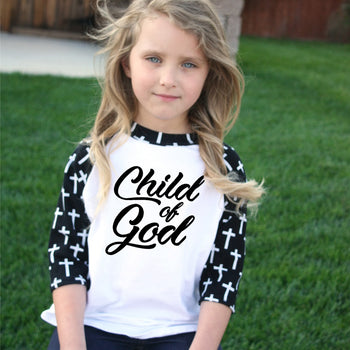 FaithBaby.com - Christian Unisex Cross Sleeve Raglan Tee - Christian Toddler Tshirt