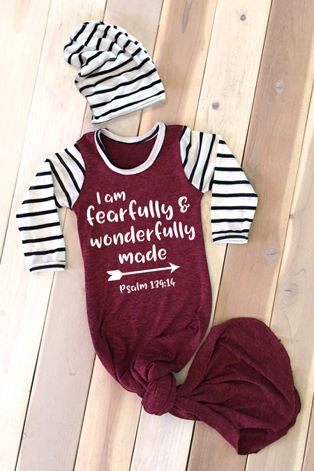 Faith Baby Christian Clothing and Apparel | Scripture Baby Gown | I Am Fearfully And Wonderfully Made Baby Boy Knotted Gown