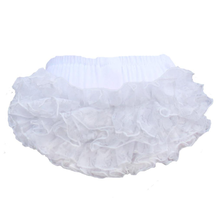 Faith Baby | White Lace Ruffled Baby Bloomers