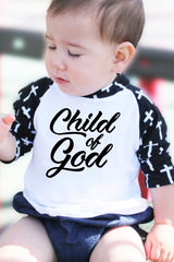 Faith Baby - Christian Cross Sleeve Raglan Tee - Christian Kids Tshirt