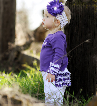 Faith Baby | Blessed Infant Toddler Long Sleeve Frilly Ruffled Top Grape and White