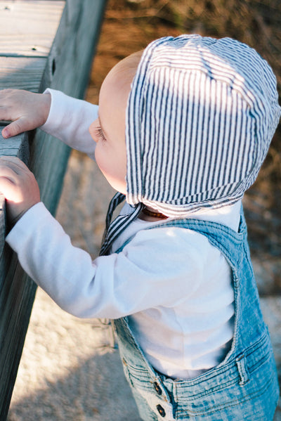 FaithBaby.com | Gray Seersucker Baby Bonnet