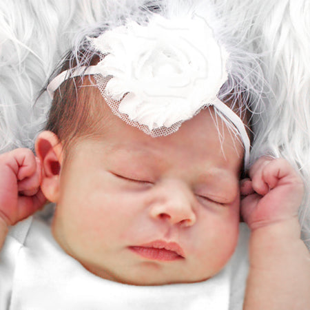 Heavenly White Feather Infant Toddler Headband | FaithBaby.com