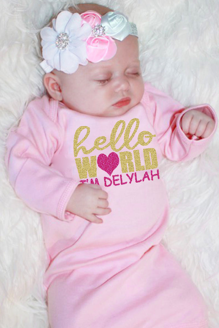 Faith Baby Christian Clothing and Apparel | Hello World Customized Newborn Sparkle Baby Gown