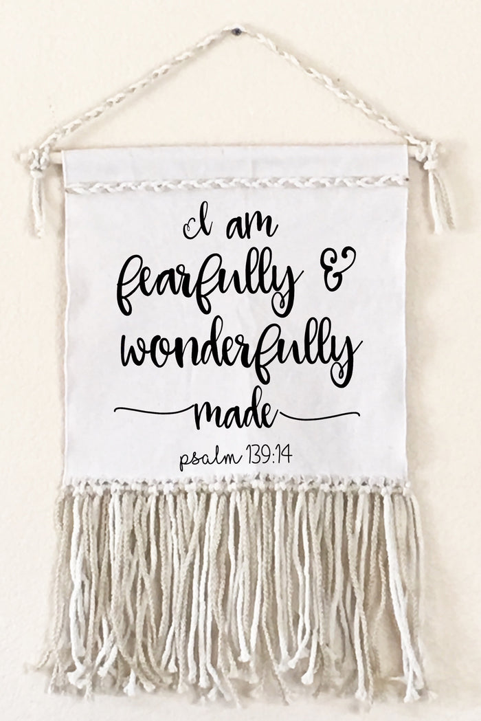 I Am Fearfully and Wonderfully Made Canvas Macrame Wall Sign | FaithBaby.com