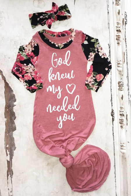 God Knew My Heart Needed You Floral Baby Girl Gown - FaithBaby.com