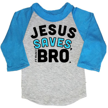 FaithBaby.com Christian Tshirt Raglan | Jesus Saves Bro