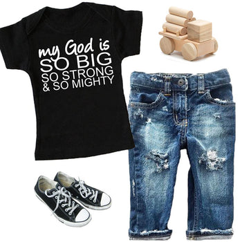 FaithBaby.com - My God Is Go Big So Strong and So Mighty - Christian Toddler TShirt