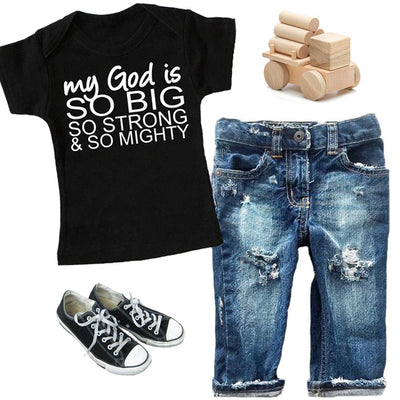 Faith Baby - Christian Toddler TShirt - My God Is Go Big So Strong and So Mighty