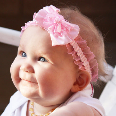 Delightful Pink Infant Baby Toddler Headband |  FaithBaby.com