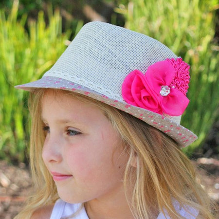 Pink Flower Rhinestone Infant Toddler Fedora | FaithBaby.com