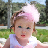 Pink Marabou Infant Toddler Headband | FaithBaby