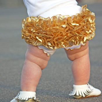 Vibrant Gold Ruffled Baby Bloomers | FaithBaby.com