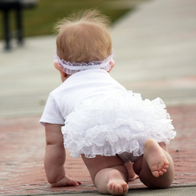 White Lace Ruffled Baby Bloomers | FaithBaby.com