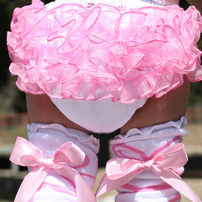 Elizabeth Pink Ruffled Baby Bloomer Diaper Cover | FaithBaby.com