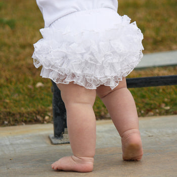 FaithBaby.com | White Lace Ruffled Baby Bloomers