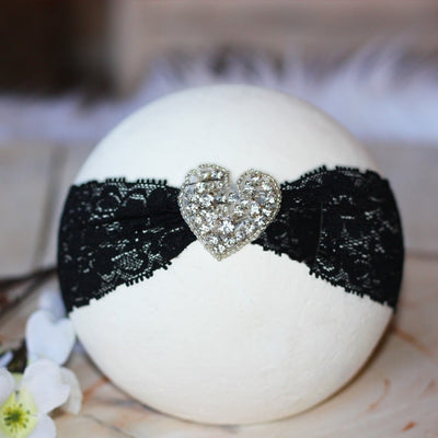 Black Lace Heart Rhinestone Infant Toddler Headband | FaithBaby.com