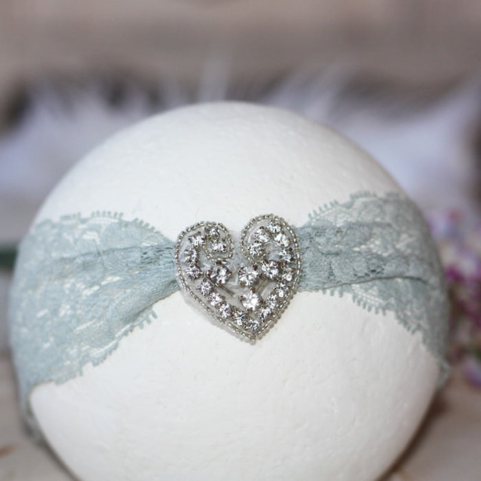 Gray Lace Heart Rhinestone Infant Toddler Headband | FaithBaby.com