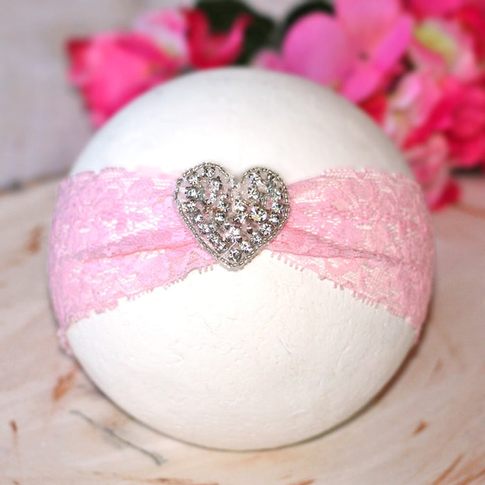 Pink Lace Heart Rhinestone Infant Toddler Headband | FaithBaby.com