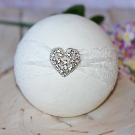 White Lace Heart Rhinestone Infant Toddler Headband | FaithBaby.com