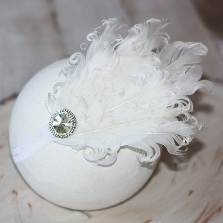 White Feather Infant Toddler Headband | Faith Baby