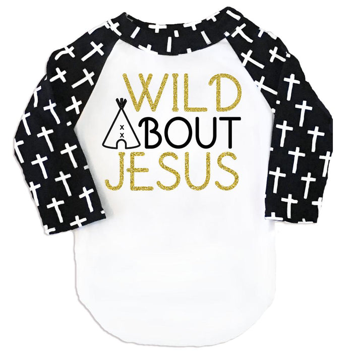 Faith Baby | Wild About Jesus Girl Raglan Cross Sleeve Tee