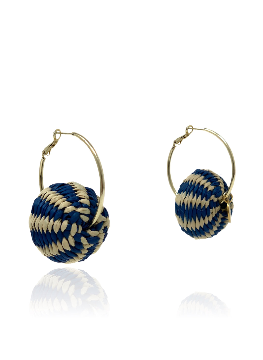 Claudia earrings navy stripes