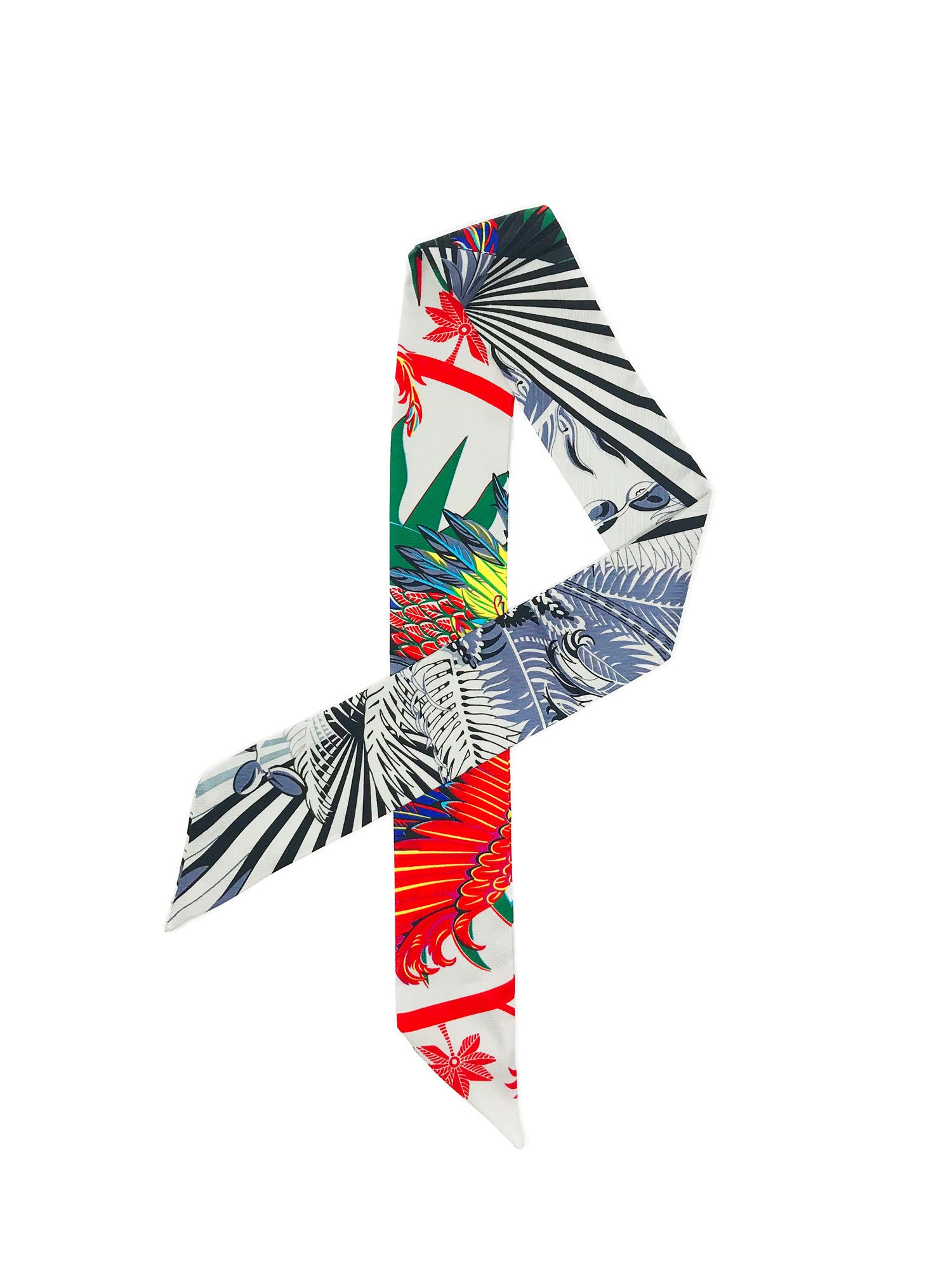 Cuckoo B Candela Scarf. Skinny silk, printed wil jungle motifs and colors.