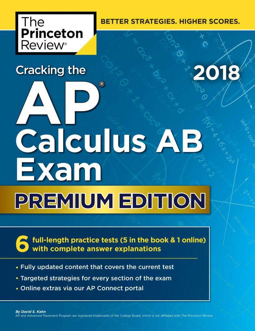 Cracking the AP Calculus AB Exam 2018, Premium Edition - eBook, PDF (Fast instant delivery)