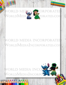 Lilo and Stitch - Printable Paper - Coloring, Diary, Art, Scrapbook