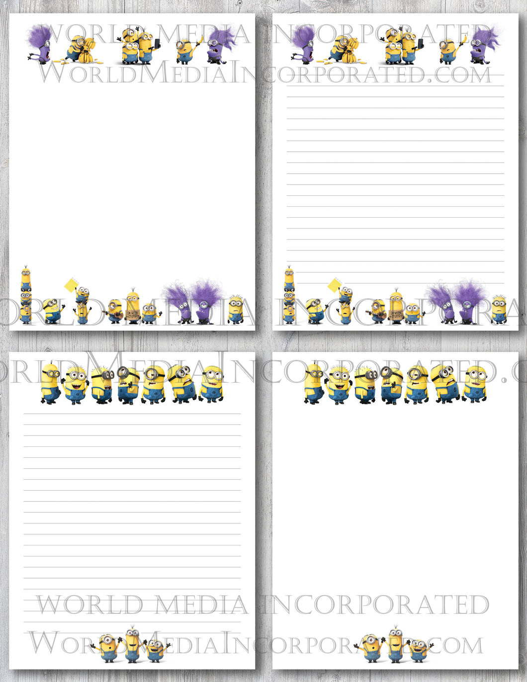 Minions - Printable Paper - Coloring, Diary, Art, Scrapbook