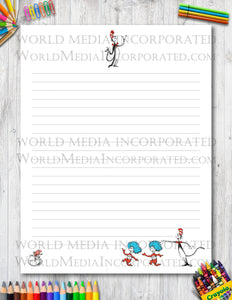 The Cat in The Hat - Printable Paper - Coloring, Diary, Art, Scrapbook