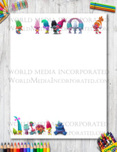 Trolls - Printable Paper - Coloring, Diary, Art, Scrapbook